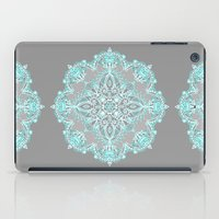 bedding iPad Cases featuring Teal and Aqua Lace Mandala on Grey by micklyn