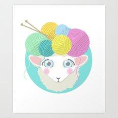 Sheepy Yarn Head Art Print