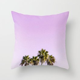 Summer Photography - Palms Under The Pink Sky Throw Pillow