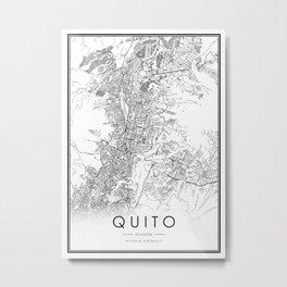 Quito City Map Ecuador White and Black Metal Print