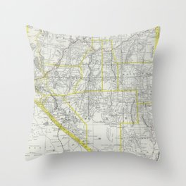 Vintage Map of Nevada (1889) Throw Pillow