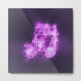 Sixteenth beamed music note symbol. Abstract night sky background Metal Print