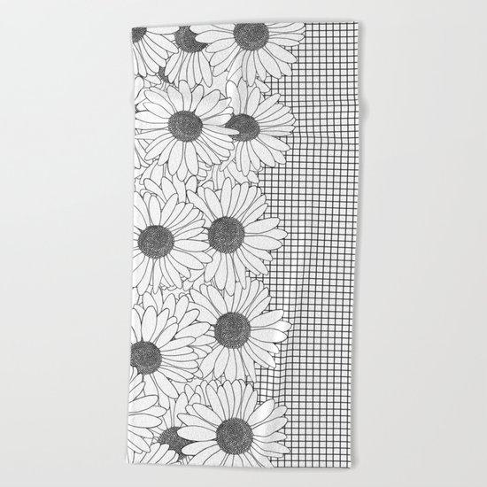 Daisy Grid on Side Beach Towel
