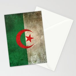 Old and Worn Distressed Vintage Flag of Algeria Stationery Cards