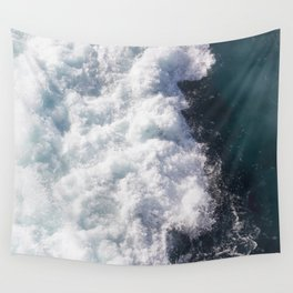 sea - midnight blue wave Wall Tapestry