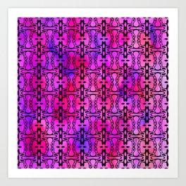 Purple Watercolor Haze, Filigree Pattern Art Print