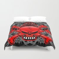 tattoos Duvet Covers featuring Red Fire Skull with Tribal Tattoos by BluedarkArt