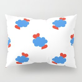 Cloud Hearts Red, White and Blue Sky Pillow Sham