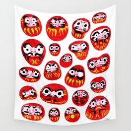 Japanese Daruma Characters Wall Tapestry