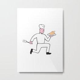 Chef With Chicken Spatula Running Cartoon Metal Print