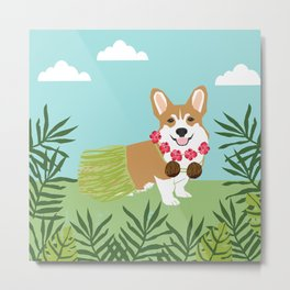 Corgi Hula Dancer Tropical Summer dance palm tree dog Metal Print
