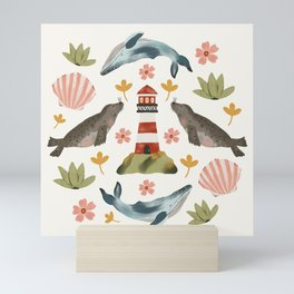 Lighthouses, Seals, and Whales Mini Art Print