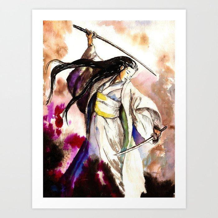 Tomoe Gozen watercolor Kunstdrucke
