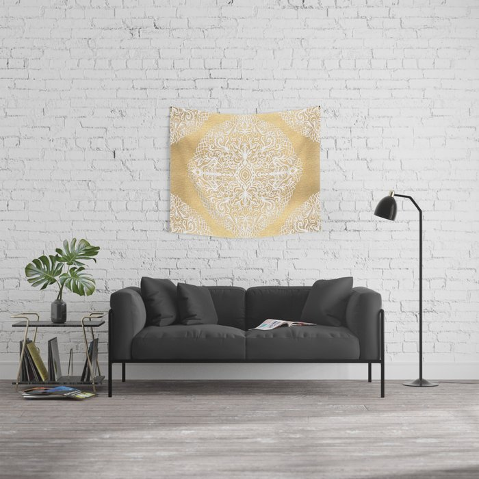 White Gouache Doodle on Gold Paint Wall Tapestry