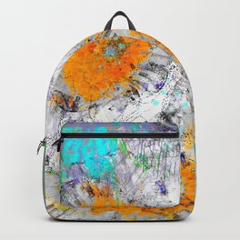 Abstract Floral Mixed Media Watercolor Ink Painting , orange & aqua Backpack