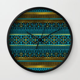 Mexican Style pattern - black, teal and gold Wall Clock