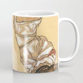 """Egon Schiele """"Weiblicher torso in unterwasche und schwarzen strumpfen"""" Coffee Mug"""