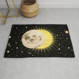 Imminent Eclipse Sun Moon & Stars Space Astronomy Cosmos Solar Lunar Rug