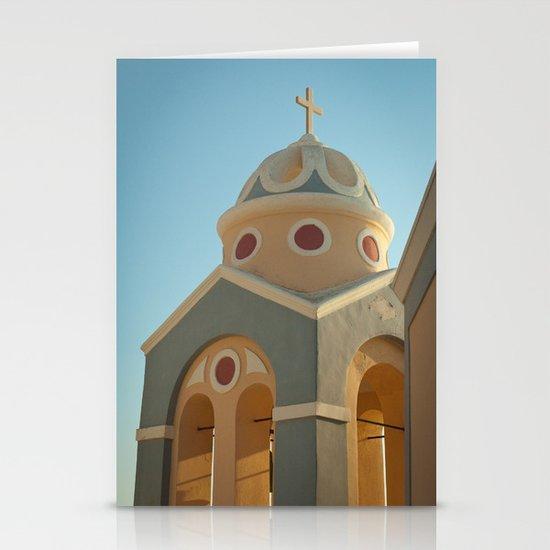 Greek island chapel Stationery Cards