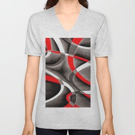 Eighties Red White and Grey Geometrical Curves On Black Unisex V-Neck