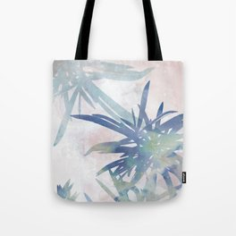Navy Blue and Blush Pink Palm Leaf Watercolor Painting Tote Bag