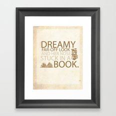 beauty and the beast... with her nose stuck in a book quote Framed Art Print