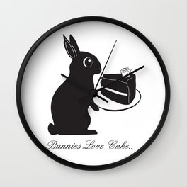 Bunnies Love Cake, Bunny Illustration, cake lovers, animal lover gift Wall Clock