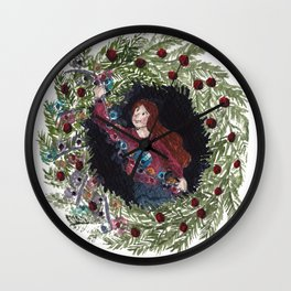 Holiday Wreath Wall Clock