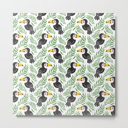 Watercolor green black yellow toucan bird floral Metal Print