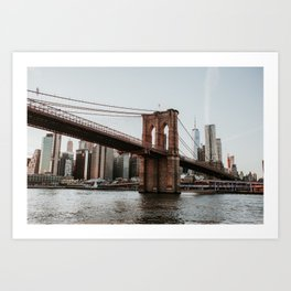 Skyline with Brooklyn Bridge | Colourful Travel Photography | New York City, America (USA) Art Print