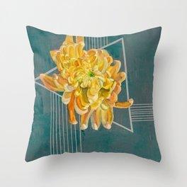 Yellow Chrysanthemum Japanese Flower Geometric Throw Pillow