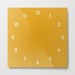Numbers Clock - Mustard Metal Print
