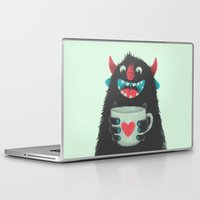 demon Laptop & iPad Skins featuring Demon with a cup of coffee by Lime