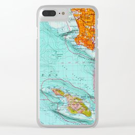 Long Beach colorful old map Clear iPhone Case