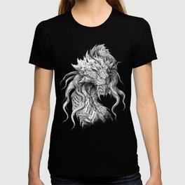 Dark Side Japanese Dragon portrait | Graphite Pencil art T-shirt