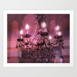 Paris Chandelier Sparkling Crystal Pink Purple Chandelier Wall Art Art Print