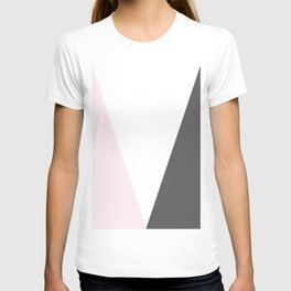 pink and gray geometric T-shirt