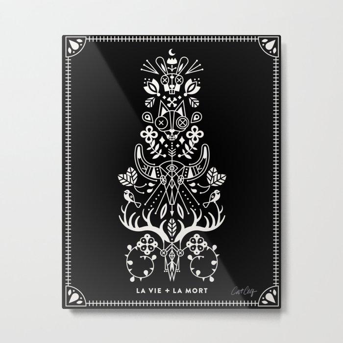 La Vie + La Mort: White Ink Metal Print