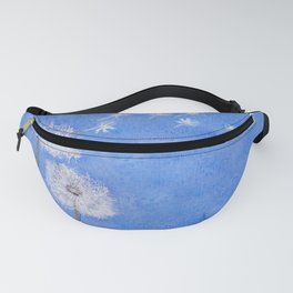 flying dandelion watercolor painting Fanny Pack