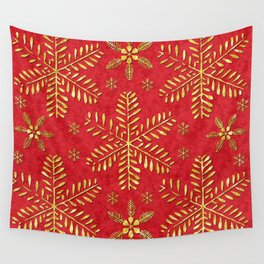 DP044-2 Gold snowflakes on red Wall Tapestry