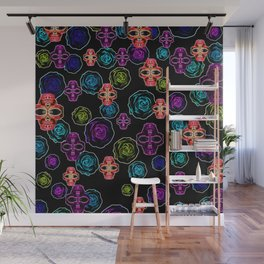 skull art portrait and roses in pink purple blue yellow with black background Wall Mural