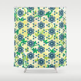 Turquoise Heptica Endless Pattern Shower Curtain