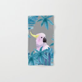 Tropical Cockatoo with Ultimate Gray Background Hand & Bath Towel