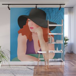 Red Haired Woman In A Black Hat Wall Mural