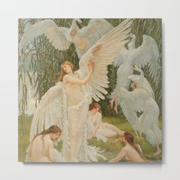 White Swans and the Maidens angelic garden landscape painting by Walter Crane  Metal Print