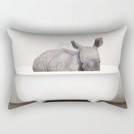 Baby Rhino in a Vintage Bathtub (c) Rectangular Pillow