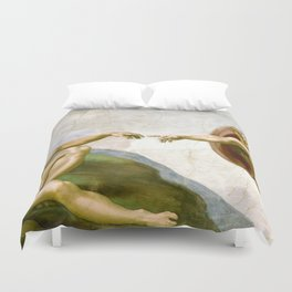 The Creation of Adam Painting by Michelangelo Sistine Chapel Duvet Cover