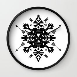 Tribal Black and White Wall Clock