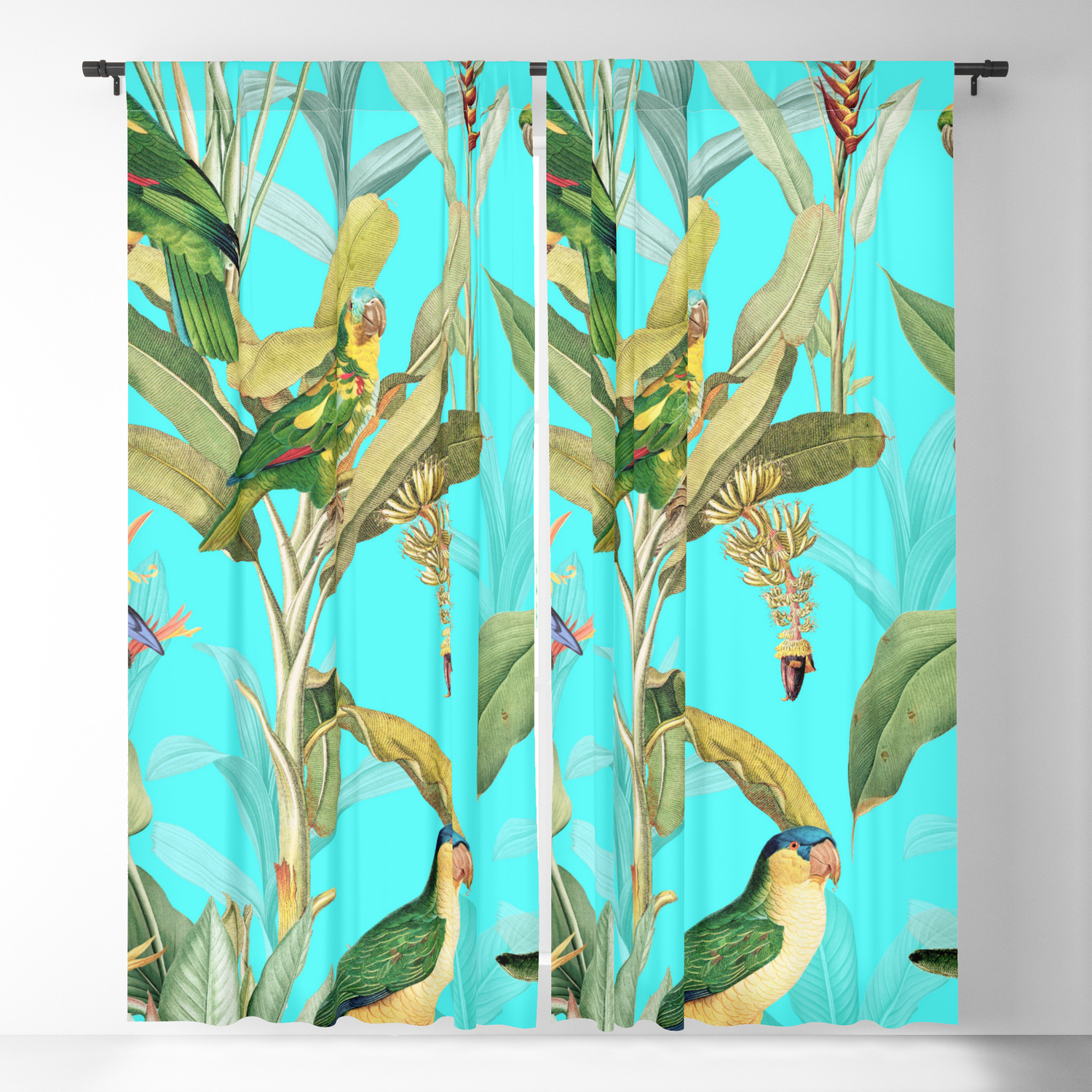 74d5574cd48e Vintage & Shabby Chic - Teal Tropical Bird and Banana Tree Garden Blackout  Curtain by vintage_love