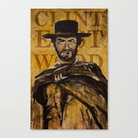 clint eastwood Canvas Prints featuring Clint Eastwood by Olga Ko